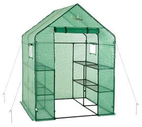 OGrow OG6868-PE Deluxe Walk-in 2 Tier 8 Shelf Portable Lawn and Garden Greenhouse – Heavy Duty Anchors Included!