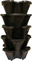 Large 5 Tier Vertical Garden Tower – 5 Black Stackable Indoor / Outdoor Hydroponic and Aquaponic Planters (24 Quart Tower – 13x13x26)