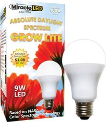 Miracle LED Absolute Daylight Spectrum Grow Lite – Replaces up to 100W – Full Spectrum Hydroponic LED Plant Growing Light Bulb for Greenhouse, Garden, and Indoor (605088)