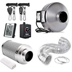 iPower GLFANXSETINLINE4D8RHCTR 4 Inch 190 CFM Inline Fan Carbon Filter 8 Feet Ducting Combo with Variable Speed Controller Rope Hanger and Humidity Monitor for Grow Tent Ventilation, Kits, Silver