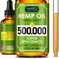 Hemp Seed Oil Drops 500,000 – Premium Colorado Seed Extract – Natural Omega 3, 6, 9 Source – Grown and Made in USA – Pain and Inflammation Relief, Reduces Stress and Anxiety, Provides Restful Sleep