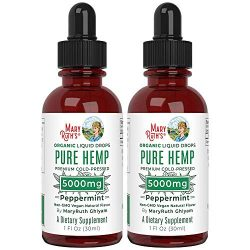 Pure Hemp Oil Extract (2 Pack) 5000mg by MaryRuth's   for Ingestible & Topical Use   Non-GMO   Peppermint   1oz