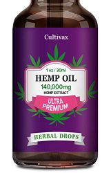Cultivax Hemp Oil 140 000mg for Pain Relief, Relaxation, Better Sleep, All Natural, Pure Extract, Vegan Friendly