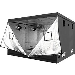 iPower 120″x120″x78″ 10' x 10' Mylar Hydroponic Water-Resistant Grow Tent with Observation Window and Removable Floor Tray, Tool Bag for Indoor Plant Seedling, Propagation, Blossom, etc