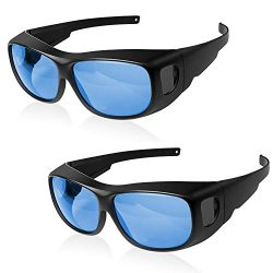 iPower GLGLSSBLUEV2X2 2-Pack Indoor Hydroponics HPS MH Grow Room Glasses for Tent Anti-UV Goggles Visual Eye Protection, Blue