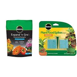Miracle-Gro Expand 'n GRO Concentrated Planting Mix 0.33 Cu Ft & Indoor Plant Food Spikes, Includes 48 Spikes – Continuous Feeding – NPK 6-12-6, 1 Pack of 48 Spikes