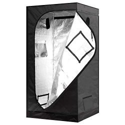 iPower 36″x36″x72″ Mylar Hydroponic Grow Tent with Observation Window and Removable Floor Tray for Plant Seedling, Propagation, Blossom, 36″ x 36″ x 72″, Water-Resistant