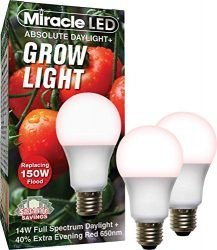 Miracle LED Absolute Daylight Plus Red Spectrum Grow Light – Replaces up to 150W – Plant Growing Light Bulb for Fruiting and Flowering (2-Pack)