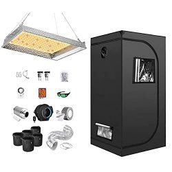 iPower Grow Tent Kit Complete AL600W Full Plant Light Lamp Indoor Hydroponics 32″x32″x63″ Greenhouse Combo with 4″ Fan Filter Ventilation, Package for Veg Flower