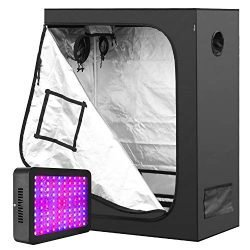 iPower 48″ x 24″ x 60″ Removable Hydroponic Water-Resistant Tent with 300W LED Grow Light Full Spectrum for Indoor Plants Veg and Flower, Black/Silver