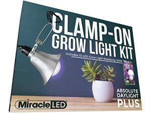 Miracle LED Clamp-On LED Absolute Daylight Plus Grow Light Kit with Red & Blue Spectrum Grow Bulb Replacing 150W