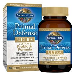 Garden of Life Whole Food Primal Defense Ultra Ultimate Probiotic Dietary Supplement for Digestive and Gut Health, 90 Count