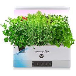 SereneLife Smart Starter Kit-Hydroponic Herb Garden Indoor Plant System w/Height Adjustable LED Grow Lights, 6 pods, 3 Modes-Home Kitchen, Bedroom, Office SLGLF140 (White)