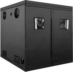 iPower Grow Tent 80″x80″x78″ Indoor Plant with 98% Reflective Mylar and Heavy Zipper, for Seedling, Propagation, Blossom, 80″ x 80″ x 78″, Black